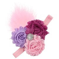 Wholesale purple feathers for hair resale online - Lace Multicolor Newborn Headband Kid Feather Flower Pattern Hair Accessories For Girls Princess Cute Hairband Accessoire Cheveux