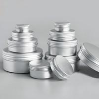 Wholesale tin gift containers - 50pcs lot 5g 10g 15g 20g 30g 50g Aluminum Cream Jar Pot Nail Art Makeup Lip Gloss Empty Cosmetic Metal Tin Containers box