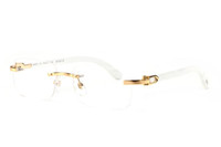 Wholesale cattle brands - Rimless Buffalo Horn Glasses France Brand Designer Cattle Glasses White Wood Sunglasses Men Women Wooden Sun Glasses Come With Box