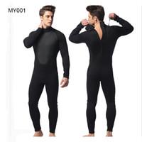 neopren mayo tek parça toptan satış-MYLE GEND Erkekler için 3mm Neopren Wetsuit Siyah Termal Fullbody Mayo Tulum Dalış Tek parça Dalış Takım Yüzme Suit
