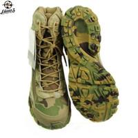 askeri taktik ayakkabılar toptan satış-Multicam Askeri Avcılık Taktik Çizmeler Kamuflaj Savaş Açık Ordu Yürüyüş Seyahat Ayakkabıları Deri