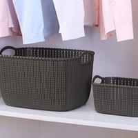cestas de baño al por mayor-Cesta de mano tejida de gran capacidad de recolección de ropa Ducha habitación de armario de múltiples funciones Baño impermeable cestas prácticas de almacenamiento 8 9yd bb