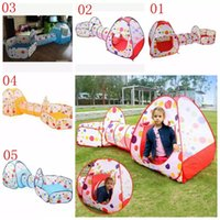 Wholesale baby ball tent online - 5styles in1 Foldable Children s Tent Pop Up Play House tunnel and ball pool Indoor Outdoor Children Baby Toys house tent set FFA1132