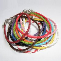 Wholesale 925 silver braided bracelets - 925 Silver Jewelry European Braided Leather Beads Bracelets Fit Gift Mix Colors 100pcs Free Shipping
