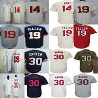 Wholesale Womens Bobs - Cleveland Mens Womens kids Jersey #19 Bob Feller #14 Larry Doby #30 Joe Carter Green Red Blue White Beige Grey Throwback Baseball Jerseys