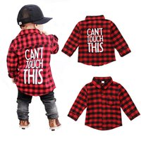 Wholesale children blouses - Baby Boys Long Sleeve Red and Black Plaid Shirt Kids Long Sleeve Blouse Casual Clothes Letter Print Preppy Casual Children Clothing 1-7T