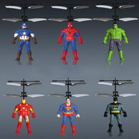 Wholesale toy remote control flying ufo - Avengers union Induction Vehicle Flying Infrared Sensors Sense Induction Mini Aircraft Flashing Light Remote Control UFO Toys for Kids