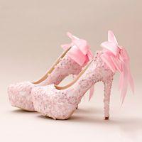 feito à medida cristal nupcial sapatos venda por atacado-2018 Pérolas Cristais Sapatos de Casamento Rosa Custom Made Tamanho 14 cm de Salto Alto Sapatos De Noiva Partido Prom Sapatos Mulheres Bombas Frete Grátis