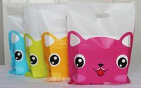 Wholesale cute cosmetic packaging - 100pcs 25*35cm Cute Cat Plastic Bag T-shirt Bags Cosmetic packaging gift bag pouches Jewelry Bags with handle randomly color