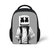 ingrosso maschera a cerniera-Borsa da scuola Marshmello Zaino per bambini Boy Girls Zaino femminile Stampa zainetto Materiale scolastico Maschera casual DJ Satchel