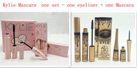 Wholesale Fiber Black - kylie 2 in 1 mascara set eyeliner Valentine's Day birthday edition 3D Fiber Lash Mascara+ Eyeliner Kyliner Waterproof Makeup Black Pink