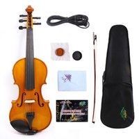 Wholesale Acoustic Pink - Yinfente 5 String Electric Acoustic Violin 4 4 Maple+Spruce Free Bow+Case #EV1