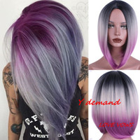 Wholesale short blue cosplay wigs - Middle part Short BOB Straight Wig Mix Brown Hair Wigs Synthetic Hair Costume Party Fashion Wigs Hairpieces Remy Hairstyle Anime Cosplay Wig
