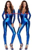 zentai parlak seksi toptan satış-Seksi Mavi Parlak Metalik Takım Catsuit Kostümleri Seksi Kadın V Yaka Vücut Suit Kostümleri Cadılar Bayramı Partisi Fantezi Elbise Cosplay Kostümleri P338