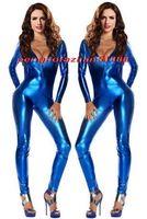 zentai körperanzug metallic großhandel-Sexy Blau Shiny Metallic Anzug Catsuit Kostüme Sexy Frauen V-kragen Body Suit Kostüme Halloween Party Kostüm Cosplay Kostüme P338