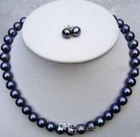 Fashion Beaded Necklaces 8-9mm South Sea Black Pearl Necklace 18 Inch 925 Silver Clasp Free Earrings