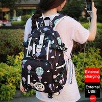sacos de escola para meninas venda por atacado-Carregador USB Mochila Mulheres College Girl Schoolbag Ombro Saco de Impressão Mochila À Prova D 'Água Mochila Mochilas Escolares Para Adolescente Meninas