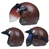 Wholesale helmets vintage - Fashion Vintage Motorcycle Helmet Men 3 4 Helmet Scooter Bike For Harley Cortical retro motorcycle