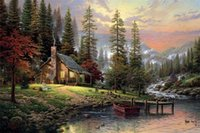 Wholesale framed river oil paintings online - Thomas Kinkade cottage by river Handpainted HD Print landscape Art Oil Painting On Canvas Home Deco Wall Art Frame Options l168