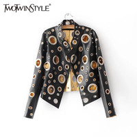 Wholesale Leather Summer Jacket - TWOTWINSTYLE Bomber Jacket Summer Feminine Coat 2017 Female Black Leather Jackets Women's Windbreaker Hollow Top Clothes Fashion