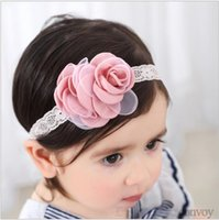 Wholesale cute baby head bands - Baby Headbands Satin Rose flower lace band Kids Elastic Cute Hairbands Head Bands for Girl Children Hair Accessories KHA657