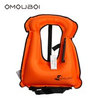 Wholesale life jacket orange - Freeshipping OMOUBOI Over Neck Style Adult Orange Snorkel Vest Buoyance Buoys Safety Swim Gear Inflatable Life Buoys Floating Jacket Vest