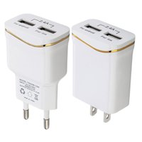 Wholesale blackberry rings - EU US Ac home wall charger Gold Ring Dual usb ports 2.4A Auto power adpater for samsung s7 s8 s9 note 8 htc iphone 7 8 x mp3 pc