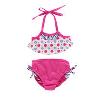 sujetador rosa chica caliente al por mayor-Bikini de verano para niñas Traje de baño floral Lindo Traje de baño de dos piezas Niño Bebé Niña Tankini Bikini Traje de baño