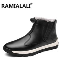 меховые снегоступы для мужчин оптовых-Ramialali New Men Boots Winter Snow Boots Warm Fur&Plush Lace Up High Top Fashion Men Shoes 45 Keep Warm Ankle