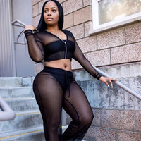 Wholesale yoga sweat suit for sale - Group buy Regular Sexy Hooded Mesh Tracksuit Piece Set Crop Top And Pants Women Costume Sweat Suits See Through Track Suit Female Fashion