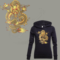 Wholesale dragon ball sweater - DRAGON BALL Gold Dragon stickers 27*25cm iron on patch T-shirt Sweater thermal transfer paper Patch for clothing