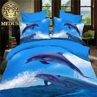 Wholesale 3d Doona Covers - Medusa 3d dolphin digital bedding set duvet doona cover bed sheet pillow cases 4pcs queen size bed linen set