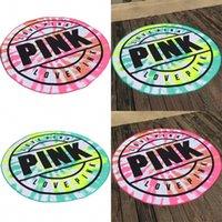 Wholesale electricity air - Pink Love Round Beach Towel Superfine Fiber Yoga Pads No Static Electricity Fashion Designer Bath Blankets Many Styles 25 5yb dZ