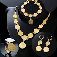173db9b058 Classic Fashion Bride Muslim Coin Necklace Earring Ring Bracelet Gold Color  Set Middle East Arab Wedding Jewelry gift