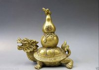 Wholesale Dragon Sheets - Chinese Brass Copper Animal Fengshui bottle gourd calabash Dragon Turtle Statue
