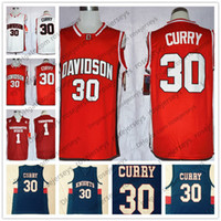 Wholesale blue curry - Davidson Wildcats #30 Stephen Curry White Washington State Cougars #1 Klay Thompson WSU Red College Basketball Knights Blue Jerseys S-3XL