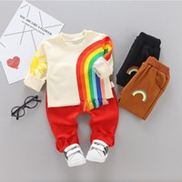 kids rainbow t shirts NZ - Kids Winter Clothes Rainbow Embroidery T-shirt Set Comfortable Warm Boys Children Clothing Girl Winter Clothes For Kids