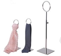Wholesale scarfs display stand resale online - high quality tie display stand stainess steel round rings scarf holder adjustable wig hat purse display rack
