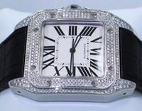 кожзаменитель оптовых-Роскошные AAA качество алмазов безель черный кожаный ремешок автоматические машины мужские часы W20073x8 новый мужской спорт наручные часы