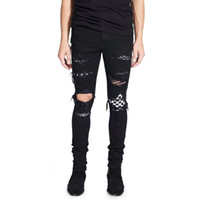 jeans robin preto homens venda por atacado-High Street Moda Robin Jeans dos homens da Cor Preta Destroyed Hip Hop Jeans Para Homens Calças Do Punk Designer Marca Rasgado Jeans Plus Size 28-40