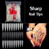 artificial transparent nails 2018 - 500pcs pack Long Sharp Nail Art Tips Artificial Half Cover Fake Nails White Natural Transparent Half Cover Nail Tips False Nail