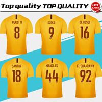 Wholesale roma football jersey online - 2019 TOTTI Roma Third Yellow Soccer Jersey DE ROSSI Roma rd Soccer Shirt Customized DZEKO EL SHAARAWY Football Uniform
