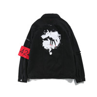 chaqueta 424 kanye west al por mayor-Ropa de calle para hombre High Kanye West Jeans Jacket 424 Lavado de chaqueta vintage negra Badge Parche de letras Imprimir exterior
