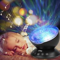 boîte de musique de nuit achat en gros de-Détente Ocean Wave Music LED Projecteur de lumière de nuit Lampe à distance Bébé sommeil cadeau avec boîte de détail