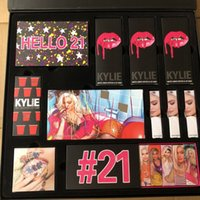 Wholesale organic makeup for sale - Drop Kylie Jenner Makeup Set Hello st Birthday Collection Lip Gloss Lipstick Sipping Pretty Eyeshadow Palette Kit Big Box Cosmetics free