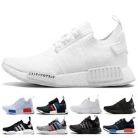 Wholesale running tri - 2018 NMD R1 Running Shoes Primeknit Triple Black White PK Tri-Color men Womens Running Shoes Classic sports trainer Sneaker Shoes eur 36-45