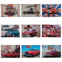 Wholesale antique car sales resale online - Antique Sports Car Design Tin Sign Original Locomotive Style Tins Poster For Bar Living Room Hang Iron Painting Hot Sale cm Z