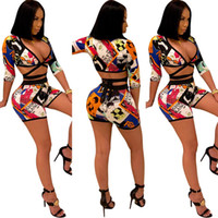 ingrosso cardigan stampato-Donne Sexy Graffiti Stampati Tute Club 2 pezzi Pantaloni Suit 3/4 maniche Wrap Crop Top e Shorts Set Cocktail Outfit tuta sportiva