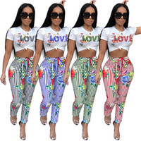 Wholesale short pants for ladies - High Fashion Ladies Two Piece Set Sexy Jumpsuit Striped Love Print Rompers Women Jumpsuit Summer Clothes For Women