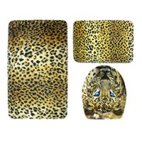 Wholesale Toilet Seat Covers Lids - Leopard Design Bathroom Toilet Mat Set Cover Lavatory Seat Cushion Bath Floor Mats Closestool Lid Cover